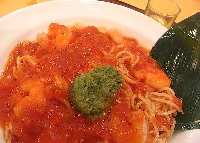 ひんやりパスタ!特製バジルシャーベットとえびのトマトソース_スパゲッティ食堂 ドナ.jpg