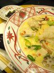 地鶏つくねと海老芋と聖護院蕪おろしの白味噌スープパスタ